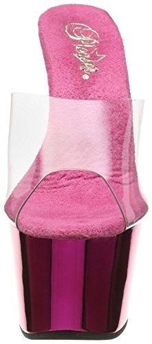 Pleaser Adore-701, Sandales Plateau Femme Rose (Clr/H. Pink Chrome)