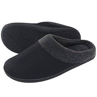 HomeTop Männer Wolle Und Stoff Memory Foam Anti - Rutsch Pantoffeln (Schwarz, EU40 - 42)