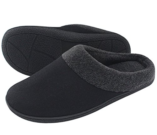 HomeTop Men's Woolen Fabric Memory Foam Anti-Slip House Slippers, Triple Thickened Sole, Perfect For Autumn and Winter ,Black,10-11 UK / 44-45 EU