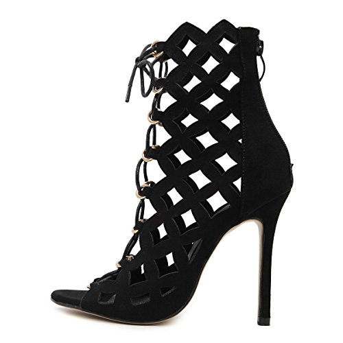 LvYuan-mxx Chaussures femmes talons hauts / Printemps Été / lacets romains creux cravate laser / Boîte de nuit sexy / Bureau & Carrière Party & Evening Dress / talon aiguille / sandales BLACK-US55EU36UK35CN35
