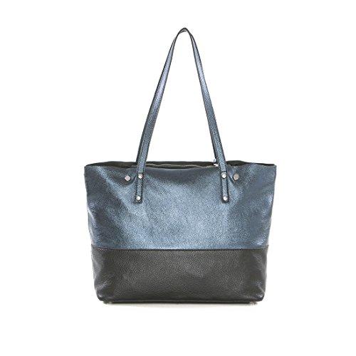 Arcadia Designer Kiara Große Metallic-Leder-Einkaufstasche Blau Und Schwarz