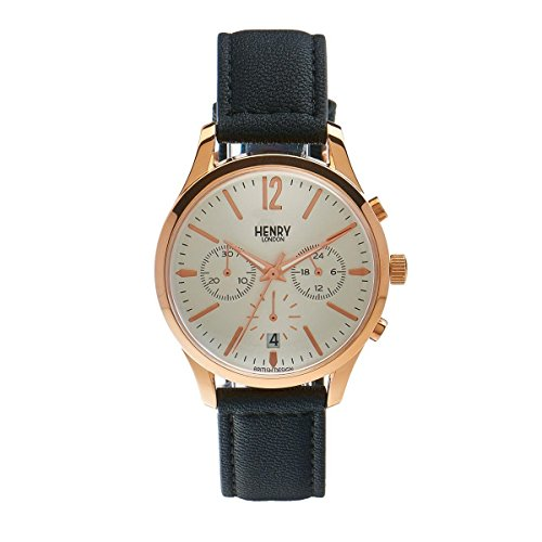 Henry Londra Unisex-Guarda Richmond Chronograph Quartz pelle HL39 - CS-0036