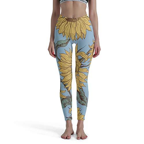 shaoziyun Shaping Leggings da Donna Sunshine Flower Training High Waist Caviglia Lunga Opaca Tights Sport Pantaloni 3/4 Bianco S