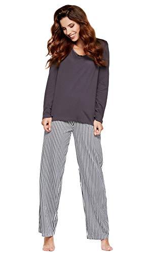 Moonline moderner und bequemer Damen Pyjama/Shorty / Capri Schlafanzug, mit weicher Baumwolle, anthrazit, Gr. XL (48/50) (Für Frauen Anzug Nacht)