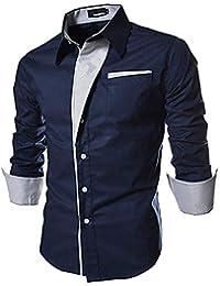 IndoPrimo Men's Cotton Casual Shirt for Men Full Sleeves Black