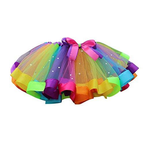 Ballett-Kleid-Partei-Bogen-Tulle-Ballettröckchen-Rock-Kostüm-Regenbogen-Tanz-Abnutzung (3-4 Jahre, C) (Rock Band Kostüme Für Mädchen)