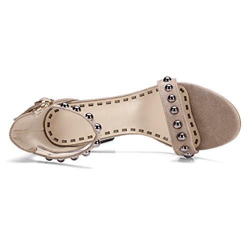 AIYOUMEI Damen Offene Knöchelriemchen Sandalen mit Nieten Stiletto High Heels Pumps Schuhe Beige