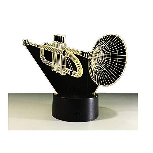 gzcrdz 3D Lampe Trompete, Gitarre Best Geschenk für Kinder LED Nachtlicht Möbel Dekorative Colorful 7Farbe ändern Haushalt Home Zubehör (Trompete)
