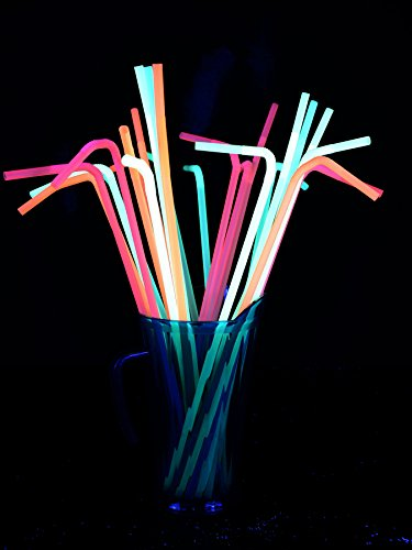 (25er-Pack XXL Schwarzlicht Strohhalme Party Neon Gemischt)