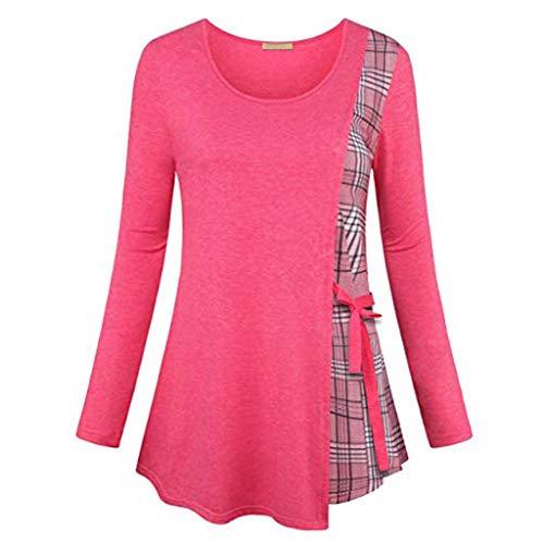 VEMOW Sommer Herbst Elegant Damen Oberteil Langarm O Neck Printed Flared Floral Beiläufig Täglich Geschäft Trainieren Tops Tunika T-Shirt Bluse Pulli(A3-Hot pink, EU-42/CN-L) -