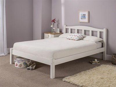 Snuggle Beds Amberley White Wooden Solid Slatted 5FT Kingsize Bed Frame