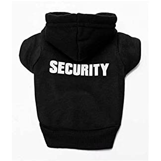 Doggie Style Store Black Security Guard Dog Cat Puppy Kitten Hoody Hooded Jumper Hoodie Top – 7 Sizes 12