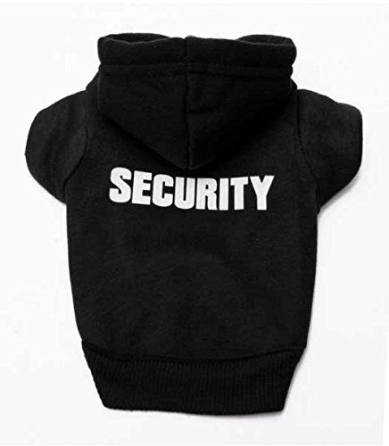 Doggie Style Store Black Security Guard Dog Cat Puppy Kitten Hoody Hooded Jumper Hoodie Top – 7 Sizes 1