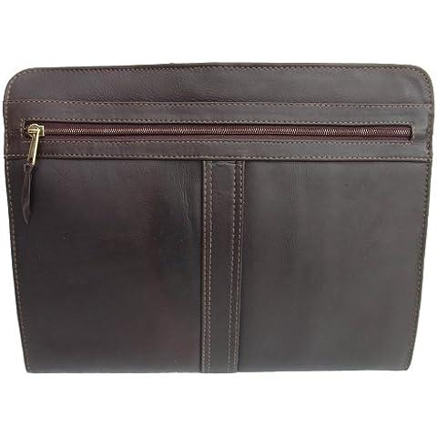 Piel Leather Tre vie busta Padfolio Unica Cartella, 34 cm,