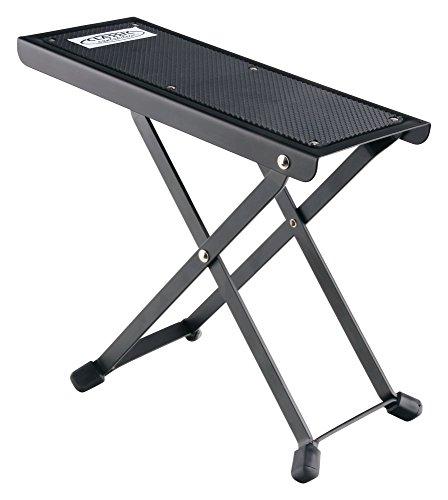 Classic Cantabile Gitarrenfußbank für Gitarre (Professioneller Gitarren-Fußbank mit rutschfester Gummiauflage, robuste Metallkonstruktion, Fußstuhl Auflage 25,5 x 10,4 cm) schwarz -