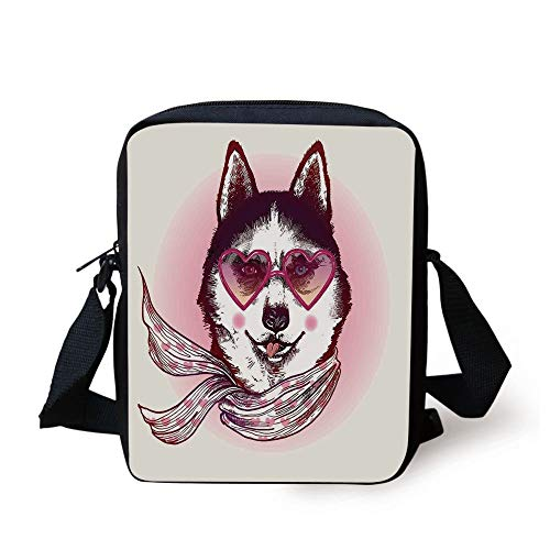 Cartoon Decor,Hipster Husky Dog with Heart Shaped Sunglasses and Scarf Fashion Animal Art Print,Pink Cream Black Print Kids Crossbody Messenger Bag Purse -