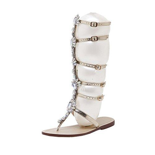 TTMall Bohemian Scarpe Sandali,Scarpe Plateau Donna Estive Scarpe da Donna con Cinturino alla Caviglia con Cinturino alla Schiava in Sandali con Lacci in Bende, Scarpe Appartamento (38, Gold)