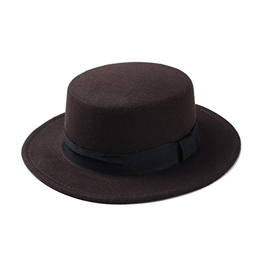 (AJZGF Nagelneue Wolle-Boater Flache Spitzenhut Laday Prok Kuchen Chapeu de Feltro Bowler Gambler Top Hat Hut (Farbe : Kaffee, Größe : 58cm))