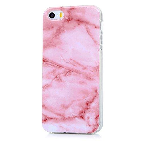 iPhone 5 5S SE Handyhülle KASOS Hülle für iPhone 5 5S SE Marmor TPU Case Etui Schale Schutzhülle Protective Schützende Stoßdämpfung Cover IMD Technologie, Marble Fünf Farben Rosa