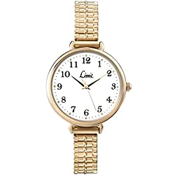Limit Heather White Dial Gold Stainless Steel Expander Bracelet Ladies Watch 6963.01