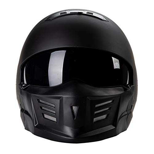 WYLDDP Moto Jet Helmet - Fronte Aperto Crash Chopper Cruiser Mezza Poilt Bobber Casco del Motociclo con Sun Visiera per Adulto Uomini Donne - Nero Opaco, M,M