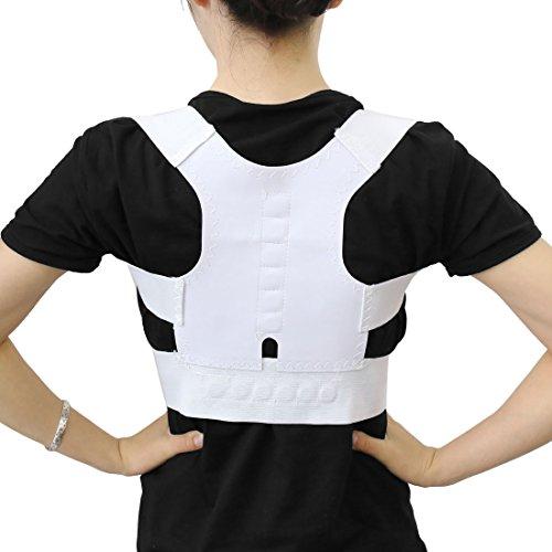 sourcing map verstellbare Magnet Haltung Rücken Schulter Corrector Support Brace Gürtel weiß DE de -