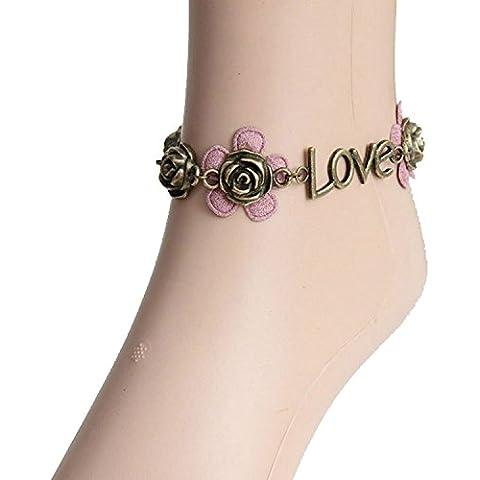 Dansuet Vintage retr¨° perline rosa bianca del fiore del merletto