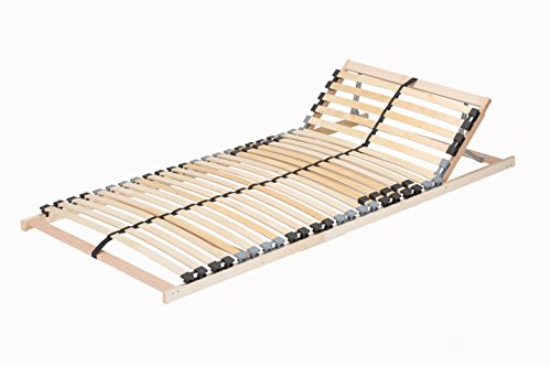 federholzleisten fuer lattenroste TAURO 22914 7 Zonen Lattenrost, 90 x 200 cm, Geeignet für alle Matratzen, Kopfteil verstellbar, Komfort Lattenrost mit 28 Leisten