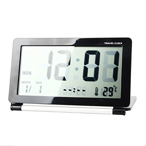 Newsbenessere.com 41wEnrsvcdL Goliton® Display LCD Digital Travel Desk Snooze Time Clock termometro del calendario - Nero