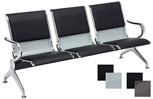 CLP Panchina Airport per Sala d'Aspetto - Panca Attesa Ufficio in Similpelle - Panchina per Sale d'Attesa con Braccioli - Sedia per Sala Attesa Carico Max 800 kg Nero-Argento 3 Posti