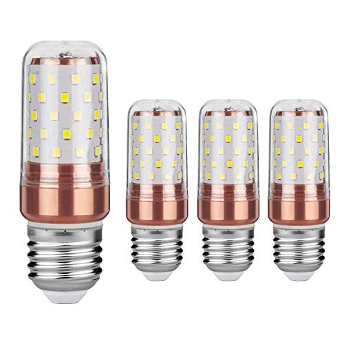 Gezee LED Mais Glühbirnen E27 12W 100W Entspricht Glühbirnen Nicht dimmbar 6000K Kaltweiß 1200lm Kleine Edison-Schraube Kerze Leuchtmittel (4er-Pack) - Edison Schraube Lampe