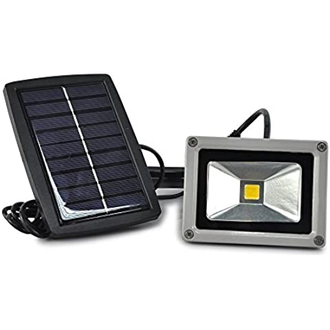 Lychee 10W LED di inondazione della luce ad alta potenza di energia solare LED del riflettore della lampadina impermeabile esterna (Bianco Caldo)