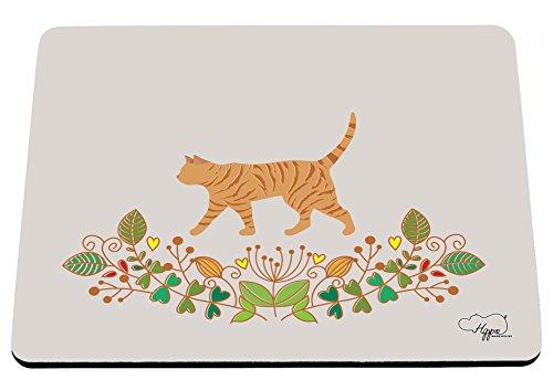 hippowarehouse Katze Blumenmuster Mauspad Zubehör Schwarz Gummi Boden 240mm x 190mm x 60mm, Purple and Orange, Einheitsgröße (Cheetoh Katzen)