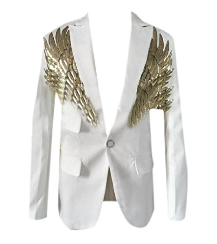 Tootlessly Men Stage Clothes Wedding Stylish Sequin Glitter Blazer