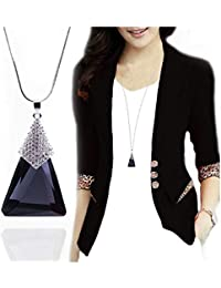 REGALIE Classique Collection Party Western Wear Black Pattern Pendants With Rhinestone Long Chain Necklace For...