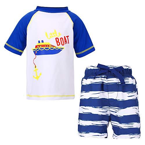 Laconia 2 Stück Kleinkinder Jungen Badeanzug UPF 50 + Sonnenschutz Kinder Schwimmshirt und Badeshort Set UV-Schutz Badesets für Jungen Blau 5-6 Jahre