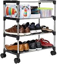Happer Premium 3-Tiers Shoe Rack/Multipurpose Storage Rack with 4 Caster Wheels, Classic (Black & Sil
