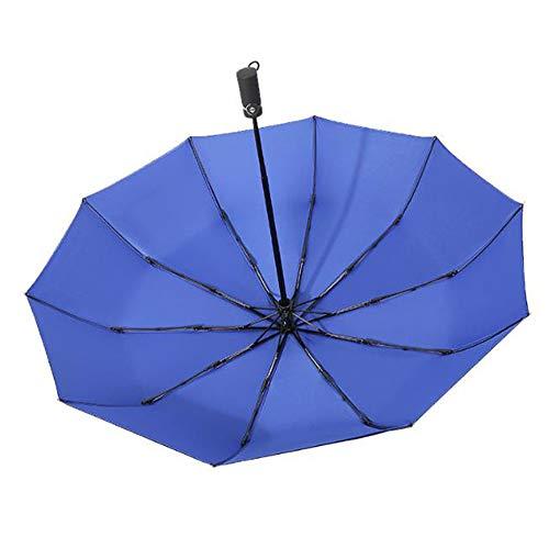 Parapluie Parapluie automatique double couche respirant hommes et femmes parapluie pliable (Couleur : Bleu)