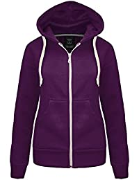 NEW LADIES WOMENS PLAIN HOODIE HOODED ZIP TOP ZIPPER SWEATSHIRT JACKET COAT Purple UK 12 / AUS 14 / US 8