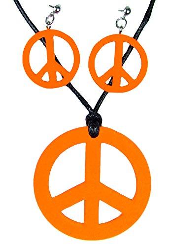 Das Kostümland Hippie Peace Schmuck Set 3-tlg. Orange
