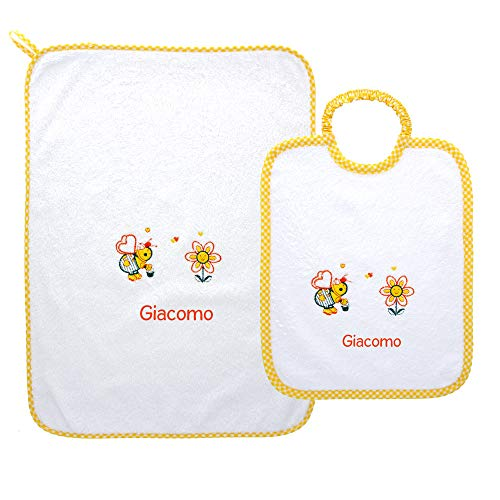 Coccole- set un asciugamano e un bavaglino grande scuola materna 3-5 anni con nome personalizzato per scuola materna (quadretti giallo)