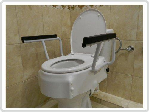 Toilettensitzerhöhung Toilettensitz Toilettenaufsatz mit flexiblen Armlehnen 3-fach höhenverstellbar *Top-Qualität*