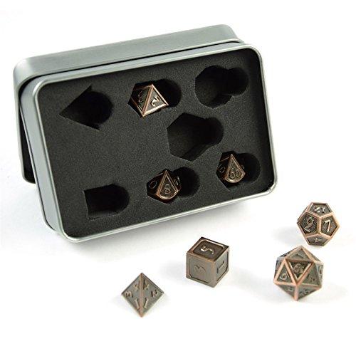 shibby 7 polyedrische Metall-Würfel für Rollen- und Tabletopspiele in Steampunk Kupfer-Optik inkl. Aufbewahrungsbox