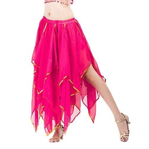 TIianWlio Damen Röcke Sequin Side Split Rock Chiffon Belly Dance Performance Röcke Hot Pink One Size