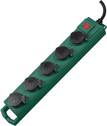 Brennenstuhl Super-Solid SL 554 Garten-Steckdosenverteiler/Outdoor Steckdosenleiste (für den Einsatz im Garten, 5-fach, 5m Kabel, mit Schalter, IP54) grün