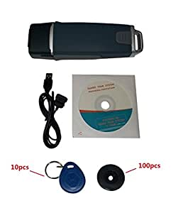RFID inductif Tour de garde patrouille lecteur système Bip / Vibreur w / logiciel et 100pcs Check Point