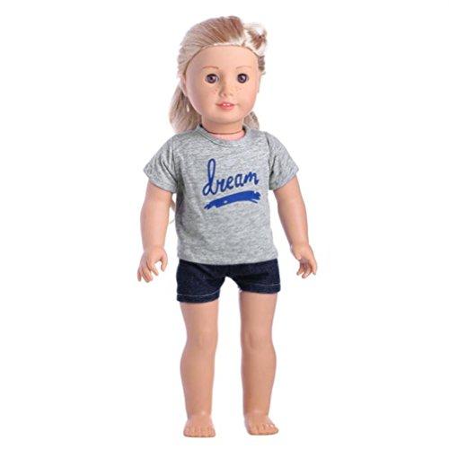 Puppe Kleidung Mädchen Puppe Hochwertige Sportbekleidung für 18 Zoll Unsere Generation American Girl Doll (Grau)