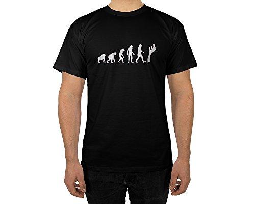 Männer T-Shirt mit Aufdruck in Schwarz Gr. M Lauch Evolution Gang Design Boy Top Jungs Shirt Herren Basic 100% Baumwolle Kurzarm