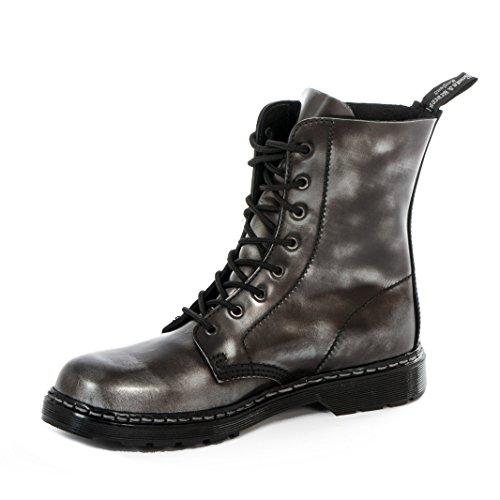 Boots & Braces-Easy 8trous Silver Système de Off Noir Bottes rangers Noir silver Rub-off