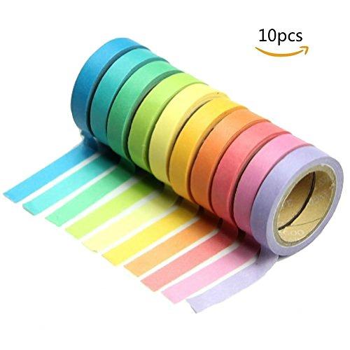 farbige klebestreifen Dosige Regenbogen Klebeband Deko Aufkleber Rainbow Dekobänder Klebestreifen Mehrere Farben klebrig Kreppklebeband Scrapbooking DIY Klebeband 10 Stück